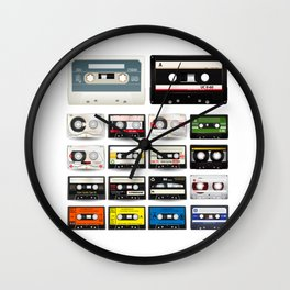 Collection of Retro Audio Cassette Tapes Wall Clock