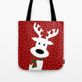 Reindeer in a snowy day (red) Tote Bag