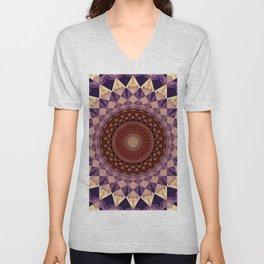 Mandala in beige and violet tones Unisex V-Neck