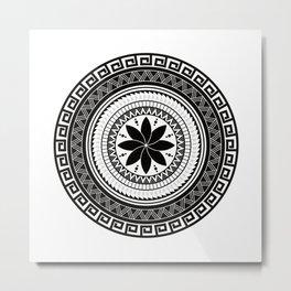 Flower -Polynesian Tattoo Style Metal Print