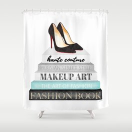 Shoes, Red sole,Books, Fashion books, Gray, Teal, Fashion, Fashion art, fashion poster, fashion wall Shower Curtain