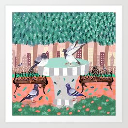 Pigeons in Central Park Art Print