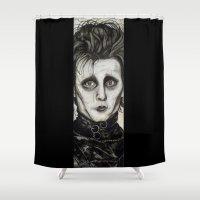 edward scissorhands Shower Curtains featuring Edward by Colunga-Art