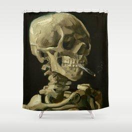 Skull Of A Skeleton With A Burning Cigarette - Vincent Van Gogh Shower Curtain