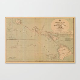 Hawaii Postal Route Map 1908 Canvas Print