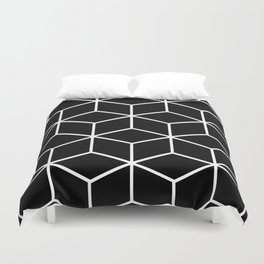 Black and White - Geometric Cube Design II Duvet Cover