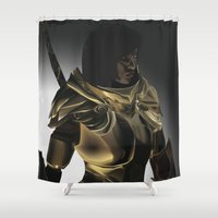 skyrim Shower Curtains featuring Skyrim Armor by J.A.C
