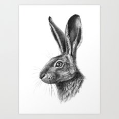 Hare profile G138 Art Print