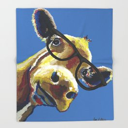 Cute Cow With Glasses, Up close Glasses Cow Throw Blanket