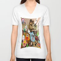 gumball V-neck T-shirts featuring GUMBALL by rosita