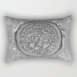 New Orleans Water Meter Louisiana Crescent City NOLA Water Board Metalwork Grey Silver Rectangular Pillow