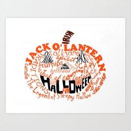 Halloween Orange Pumpkin Calligram Art Print