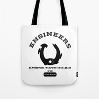 prometheus Tote Bags featuring Prometheus Engineers Xenomorph University by WhyTee1300