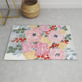 """""""Bright Florals"""" loose flower watercolor painting Rug"""