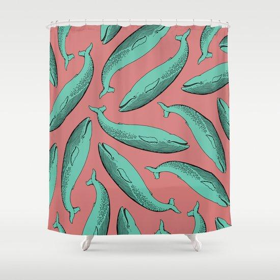 calm whale pattern Shower Curtain