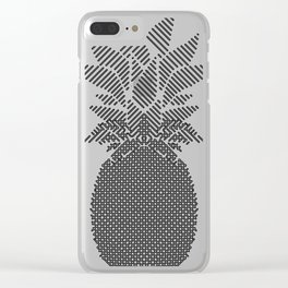 Black and White Pattern Pineapple Artwork Clear iPhone Case