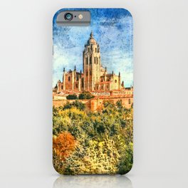 Segovia, Spain. View over the town with its cathedral and medieval walls.  iPhone Case