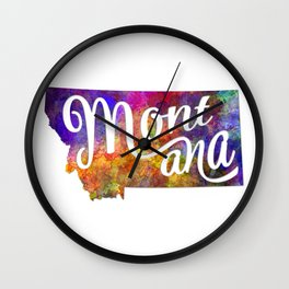 Montana US State in watercolor text cut out Wall Clock