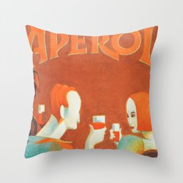 Aperol 'Salute!' Wine and Wine Alcohol Aperitif Vintage Advertisement Poster Throw Pillow
