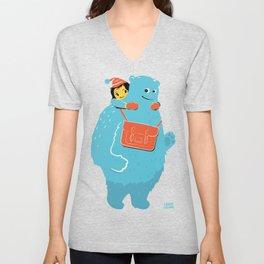 Blue-Monster Piggy-Ride Unisex V-Neck