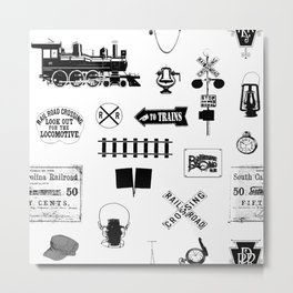 Railroad Symbols on White Metal Print