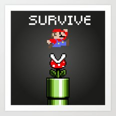 Mario survive Art Print