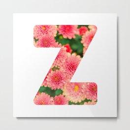 Pink Floral Z Metal Print