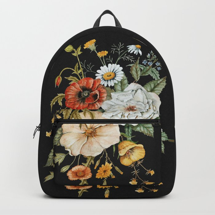 Wildflower Bouquet on Charcoal Backpack