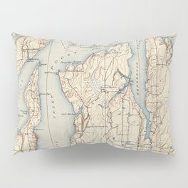 Vintage Map of The Puget Sound (1934) Pillow Sham