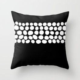 Soft White Pearls on Black Throw Pillow