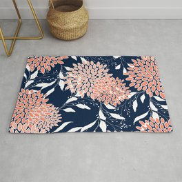 Floral Prints and Leaves, Navy, Coral and White Rug