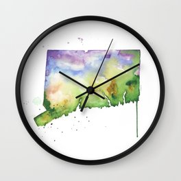 Connecticut Watercolor Map - State Map Art - Watercolor Maps Wall Clock