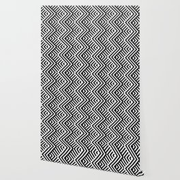 Op art pattern with striped black and white zigzags Wallpaper