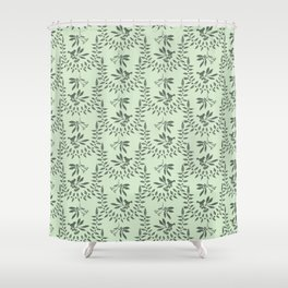 Green Nature Olive Leaf Berry Birds Branch Shower Curtain