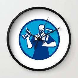 Bearded Handyman Cordless Drill Paintroller Circle Retro Wall Clock