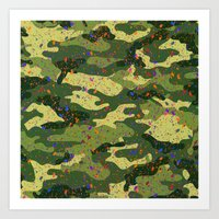 camouflage Art Prints featuring CAMOUFLAGE by DIVIDUS