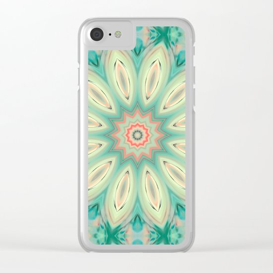 Daisy. Ornament bright turquoise . Clear iPhone Case