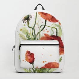Red Poppies Watercolor Backpack