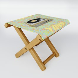 Retro Vibes Record Player Design in Yellow Folding Stool