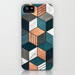 Copper, Marble and Concrete Cubes 2 with Blue iPhone Case