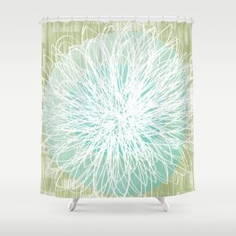 Doodle Flowers in Mint by Friztin Shower Curtain