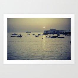 Boats at Sunset - South China Sea Art Print