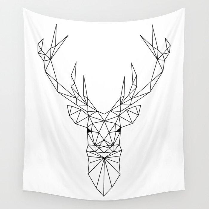 Geometric Deer Head Wall Tapestry by paintxprint | Society6