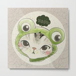 Froggie Kittie Cat Metal Print