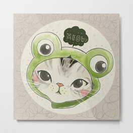 Froggie Kittie Cat Metal Print