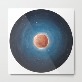 Solar System: Mars with Phobos and Deimos orbiting around. Metal Print