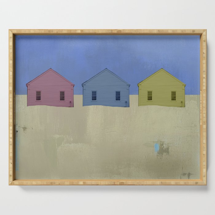 Beach Cottages, colorful houses, coastal, row houses Serving Tray