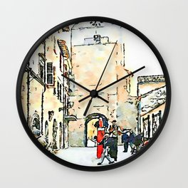 Barbarano Romano: street with tower and acrobats Wall Clock