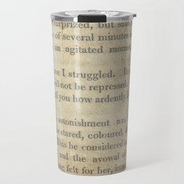 Pride and Prejudice  Vintage Mr. Darcy Proposal by Jane Austen   Travel Mug