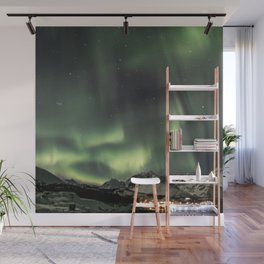 Green Northern Light Tromsø Mountains Photo | Aurora Borealis Norway Art Print | Travel Photography Wall Mural